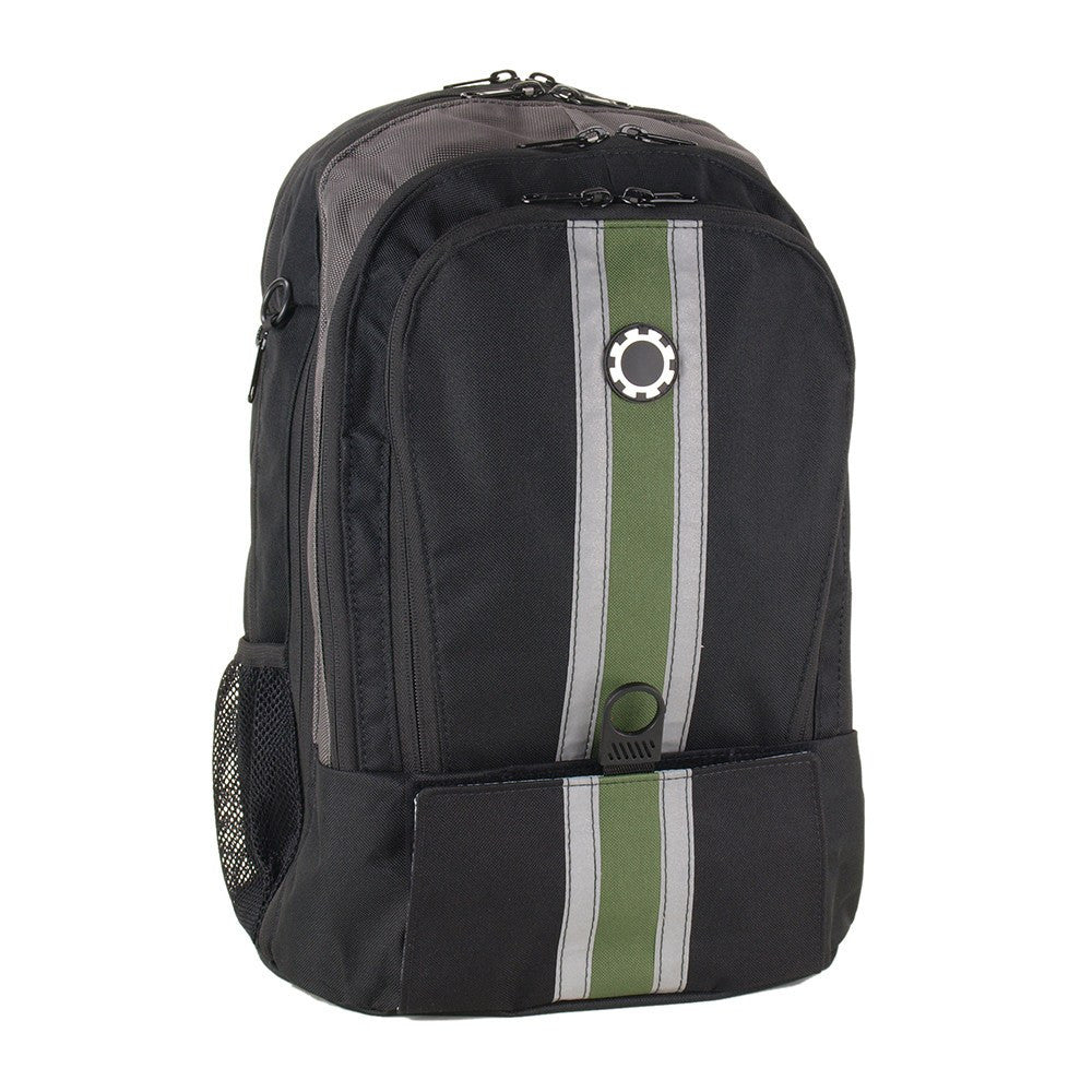 DadGear Backpack Diaper Bag Center Stripe Green