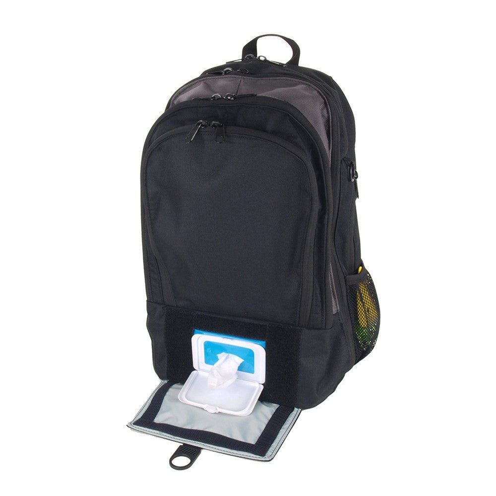 Backpack Diaper Bag  - View of Open Quick Access Wipes Window