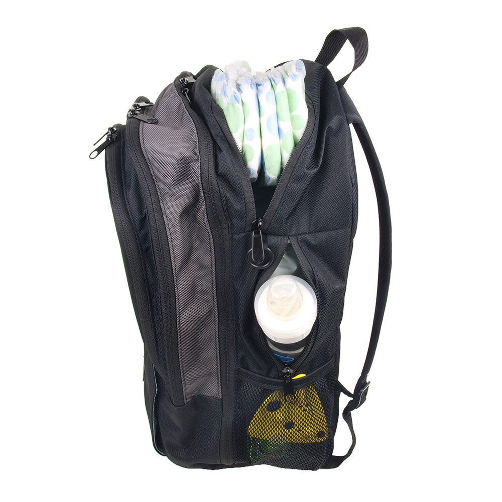 Backpack Diaper Bag  - Side View of Backpack with Diaper Hammock Packed with Diapers