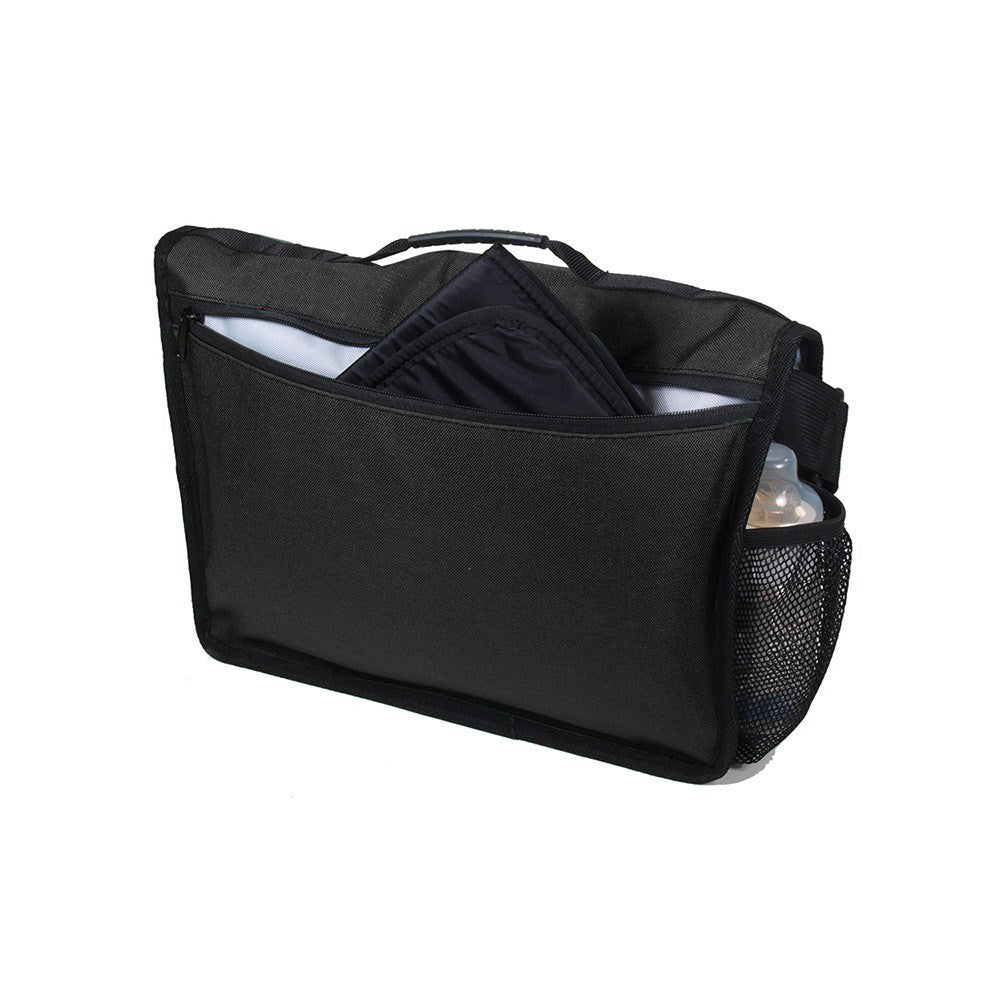DadGear Courier Style Messenger Diaper Bag  - Basic Black Back of Bag with Pocket for Changing Pad