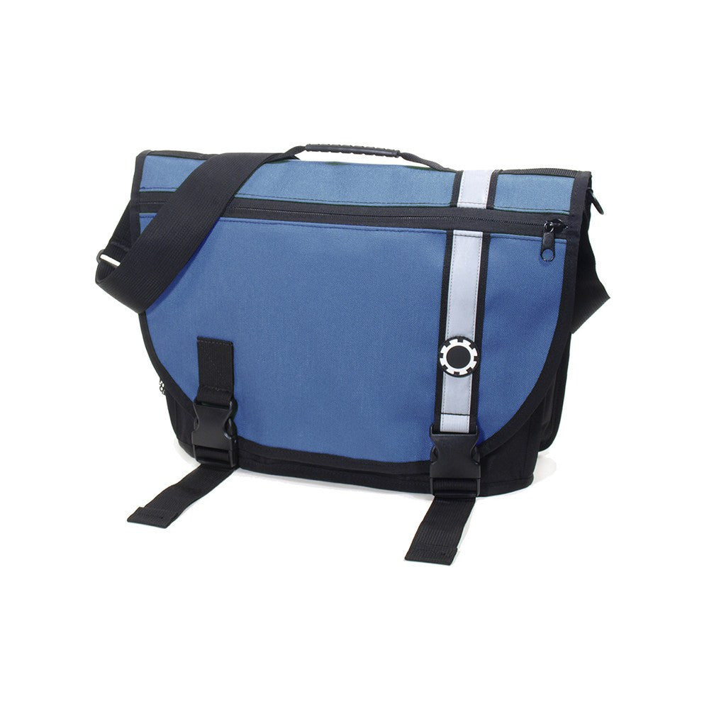 DadGear Courier Style Messenger Diaper Bag  - Retro Stripe Blue