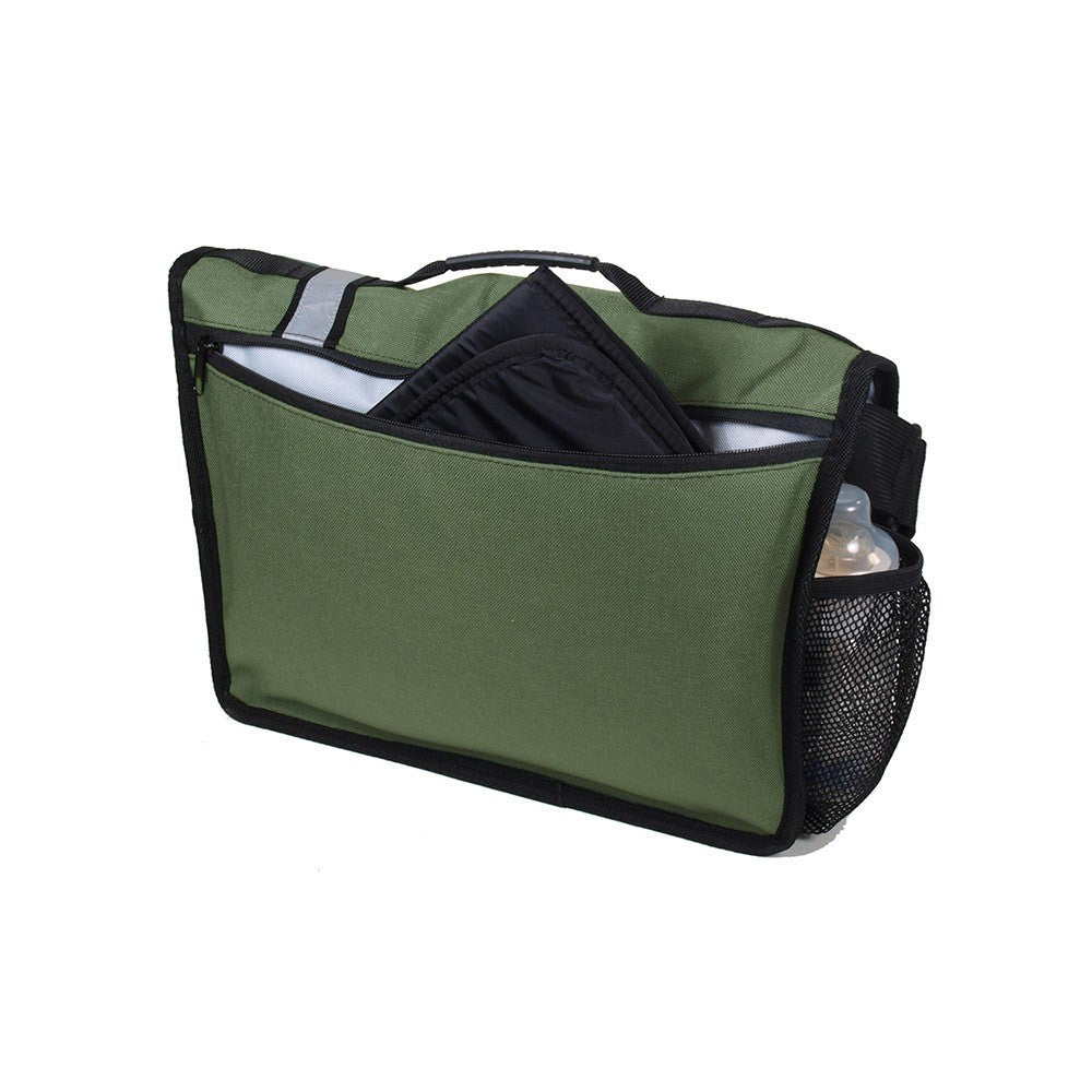 DadGear Courier Style Messenger Diaper Bag  - Retro Stripe Green Back of Bag with Pocket for Changing Pad