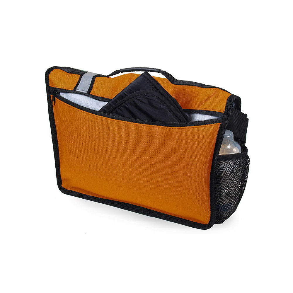 DadGear Courier Style Messenger Diaper Bag  - Retro Stripe Orange Back of Bag with Pocket for Changing Pad