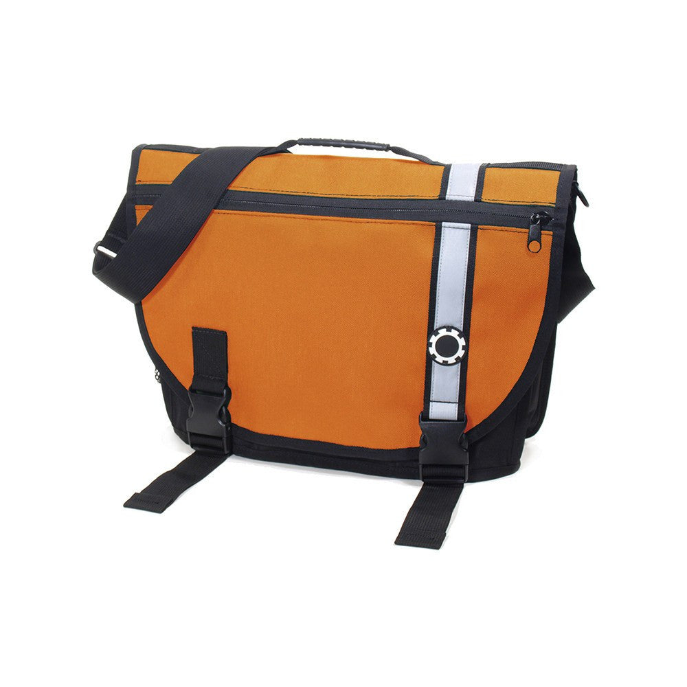 DadGear Courier Style Messenger Diaper Bag  - Retro Stripe Orange
