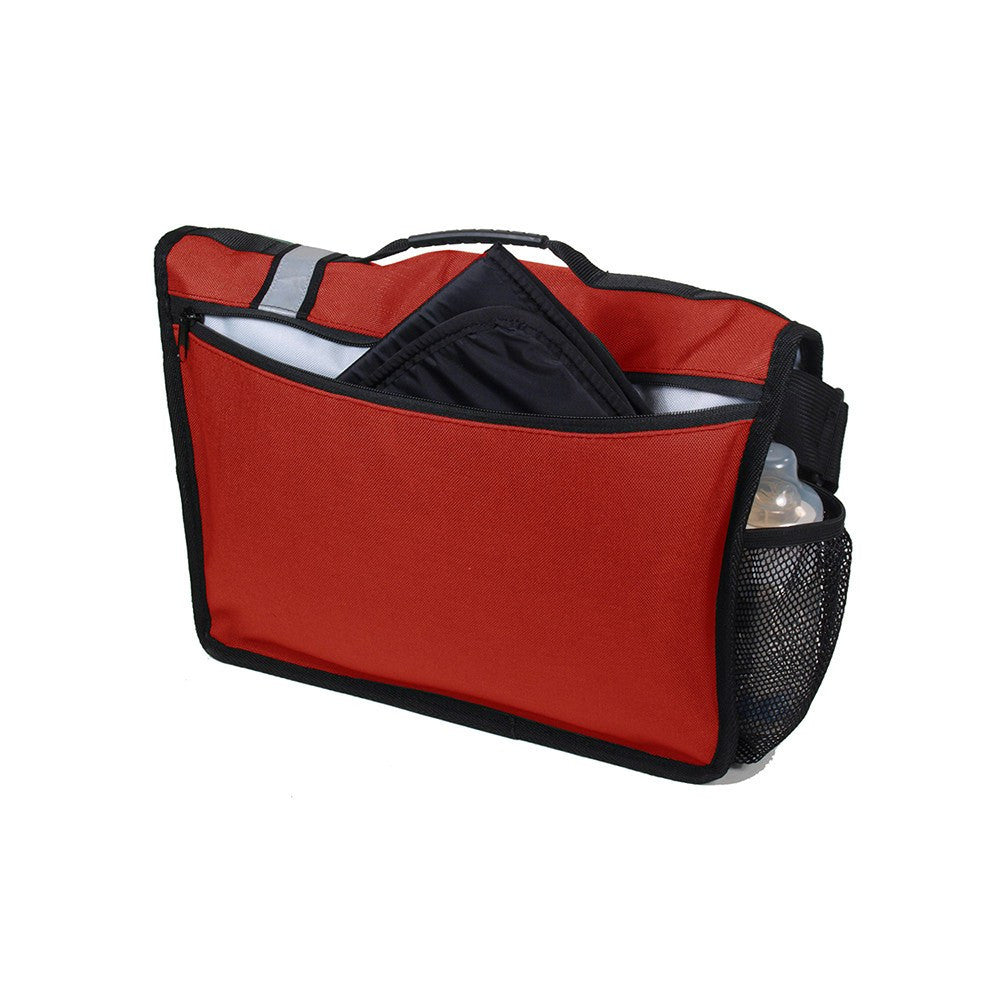 DadGear Courier Style Messenger Diaper Bag  - Retro Stripe Red Back of Bag with Pocket for Changing Pad