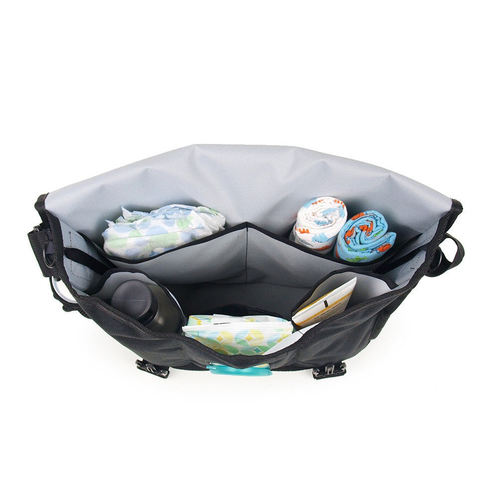 DadGear Courier Style Messenger Diaper Bag - Inside Top view of Open Bag