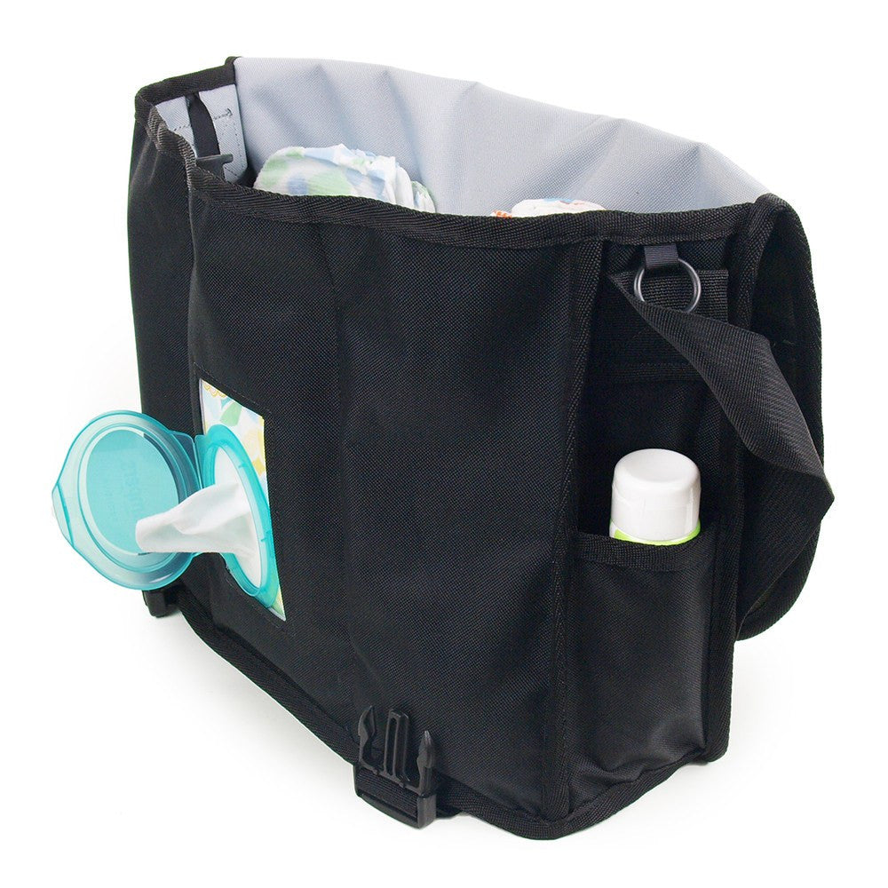 DadGear Courier Style Messenger Diaper Bag - Front View of Open Bag