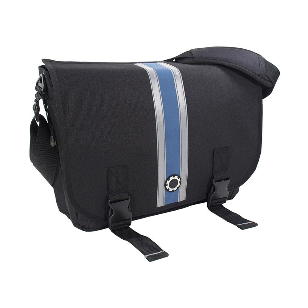 DadGear Messenger Diaper Bag  - Center Stripe Center Stripe Blue