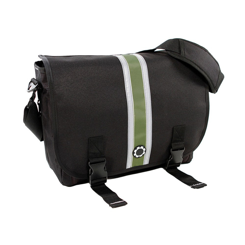 DadGear Messenger Diaper Bag  - Center Stripe Center Stripe Green
