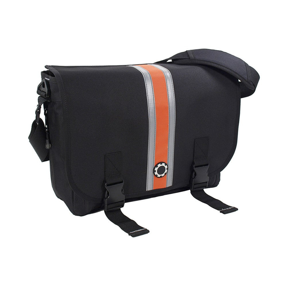 DadGear Messenger Diaper Bag  - Center Stripe Center Stripe Orange