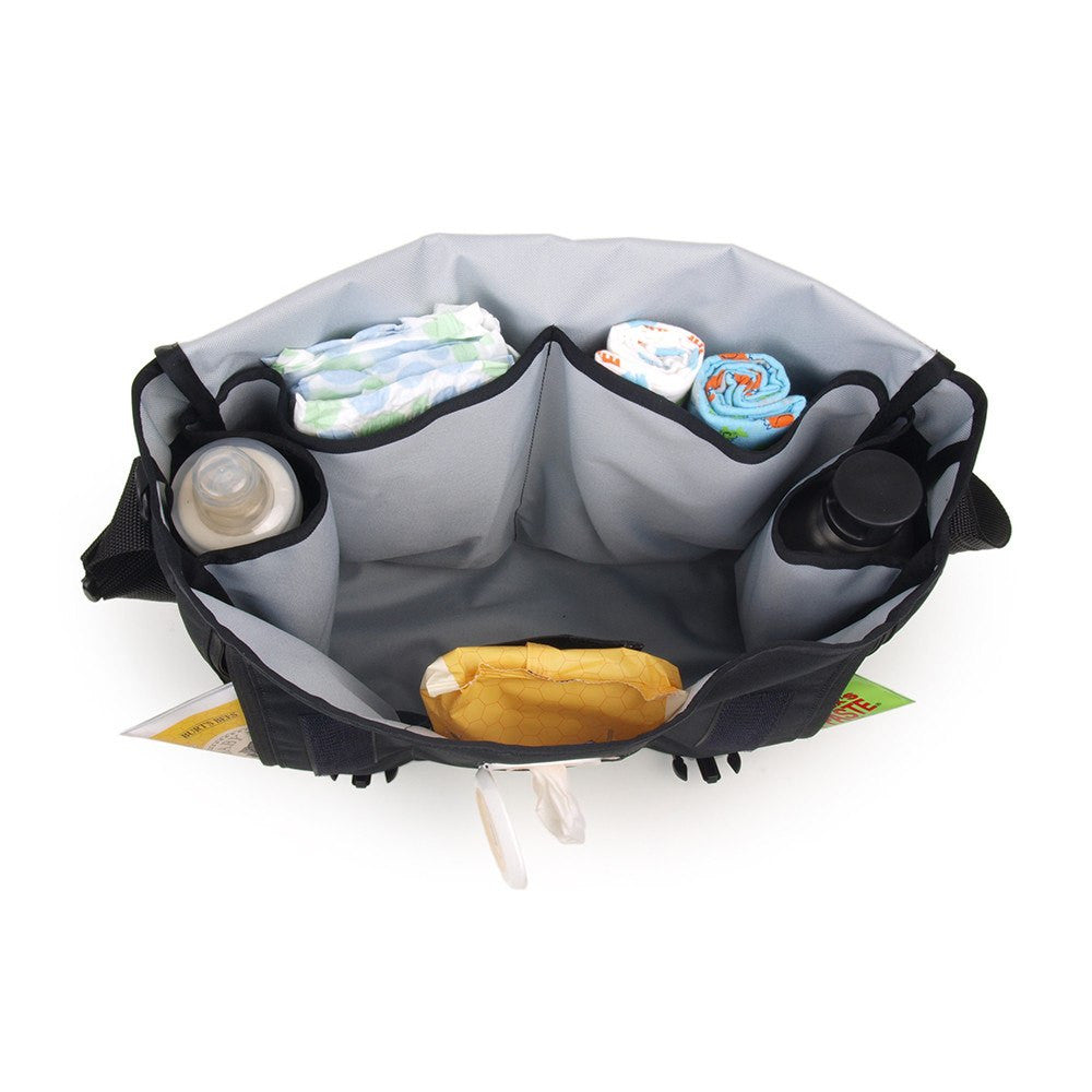 DadGear Messenger Style Diaper Bag - Top view of Open Bag