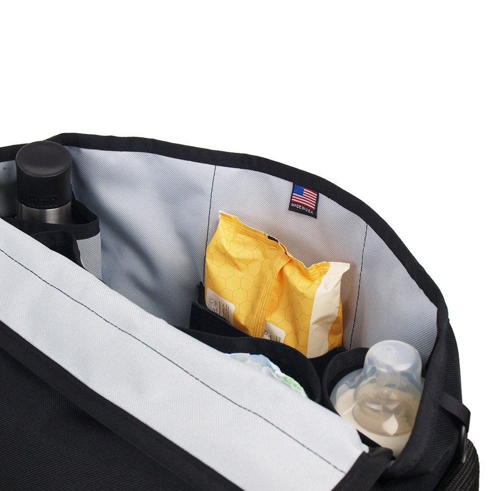 DadGear Messenger Style Diaper Bag - Front View of Open Bag