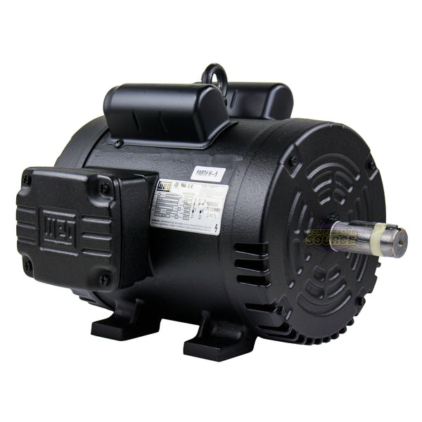 5 HP Air Compressor Duty Electric Motor 184T 1745  RPM 1 Phase Manual Overload