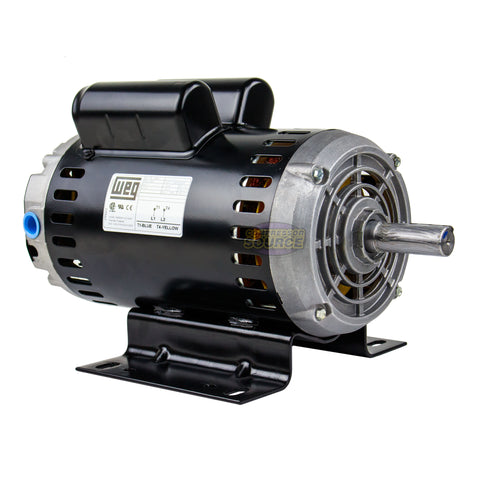 Weg 6.4 HP Single Phase Electric Heavy Duty Compressor Motor 56 Frame 240V 3450 RPM