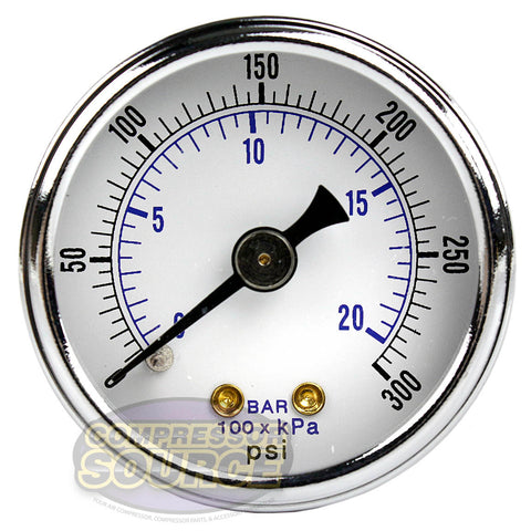 "1/8"" NPT 0-300 Air Pressure Gauge Center Back Mount with 1.5"" Face"