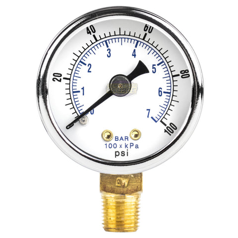 "1/8"" NPT 0-100 PSI Air Compressor / Hydraulic Pressure Gauge Lower Side Mount With 1.5"" Face"