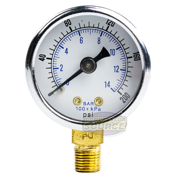 "1/8"" NPT Air Compressor Hydraulics Pressure Gauge 0-200 PSI Side Mount 1.5"" Face"