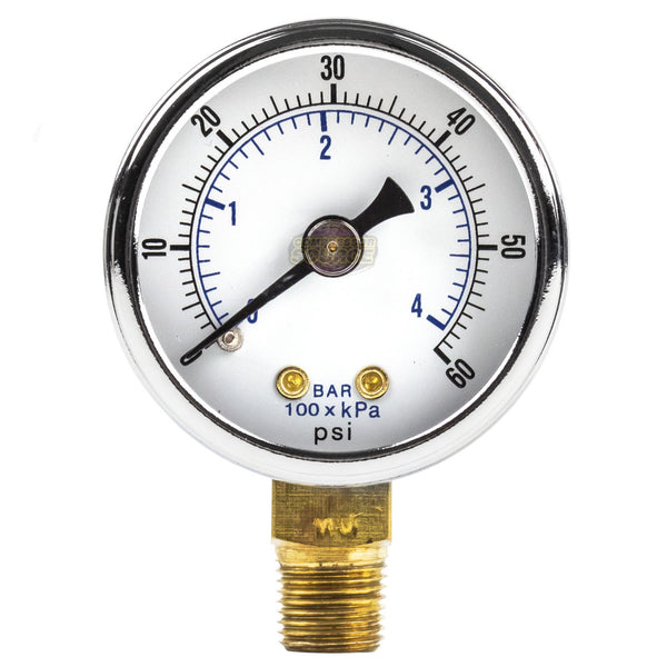 "1/8"" NPT 0-60 PSI Air Compressor / Hydraulic Pressure Gauge Lower Side Mount With 1.5"" Face"