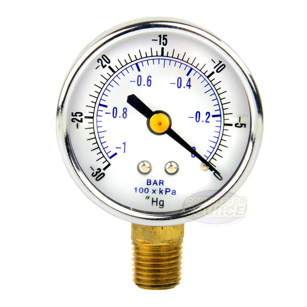 "1/4"" NPT 0 to -30 PSI Vacuum Air Pressure Gauge Lower Side Mount With 2"" Face"