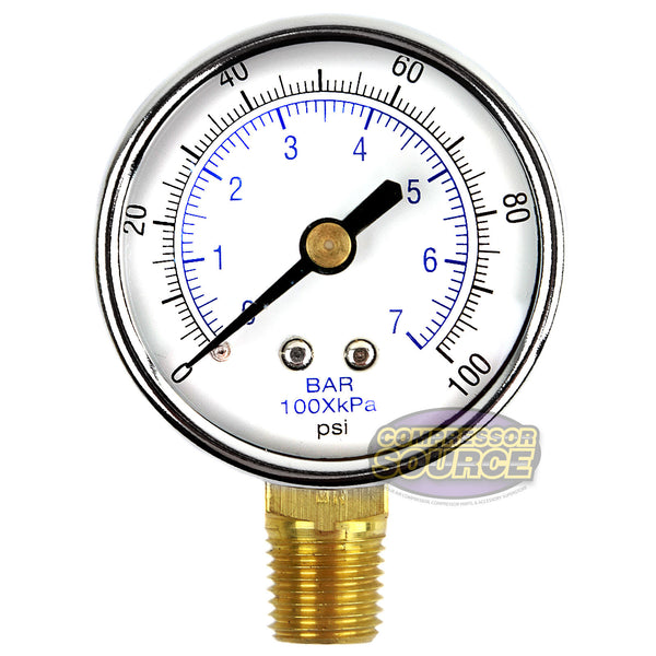 "1/4"" NPT 0-100 PSI Air Pressure Gauge Lower Side Mount"
