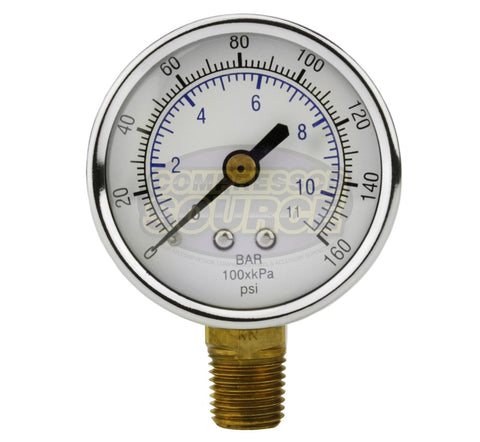 "1/4"" NPT 0-160 PSI Air Pressure Gauge Lower Side Mount"