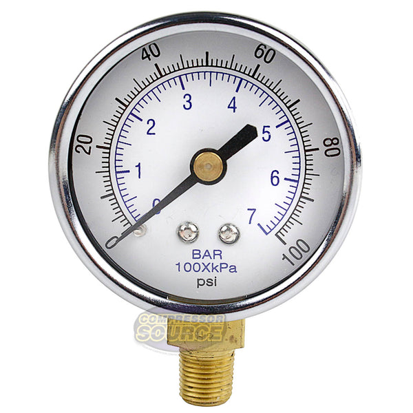 "1/8"" NPT Air Compressor Lower Mount Pressure Gauge 0-100 PSI Side WOG 2"" Face"