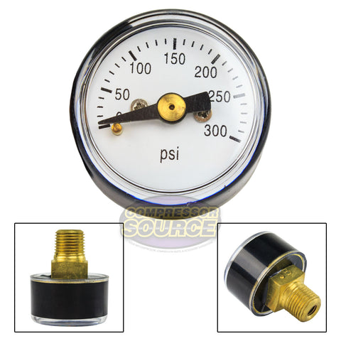 "1/8"" MNPT Mini / Micro Air Pressure Gauge 0-300 PSI 1"" Face CBM Center Back Mount"