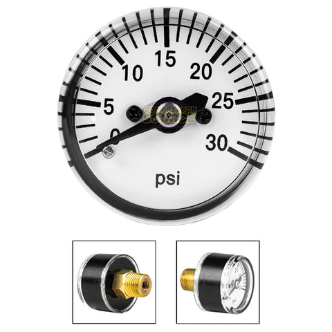 "1/8"" MNPT Mini Micro Air Pressure Gauge 0-30 PSI 1"" Face CBM Center Back Mount"