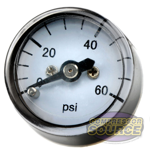 "1/8"" NPT 0-60 PSI Micro Air Pressure Gauge Center Back Mount With 1"" Face"