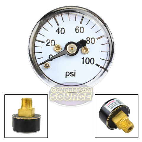 "1/8"" MNPT Mini / Micro Air Pressure Gauge 0-100 PSI 1"" Face CBM Center Back Mount"