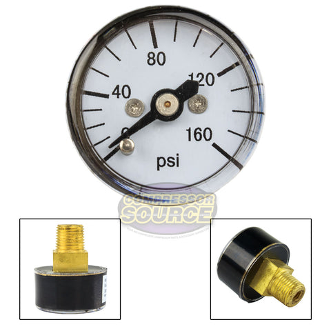 "1/8"" MNPT Mini / Micro Air Pressure Gauge 0-160 PSI 1"" Face CBM Center Back Mount"