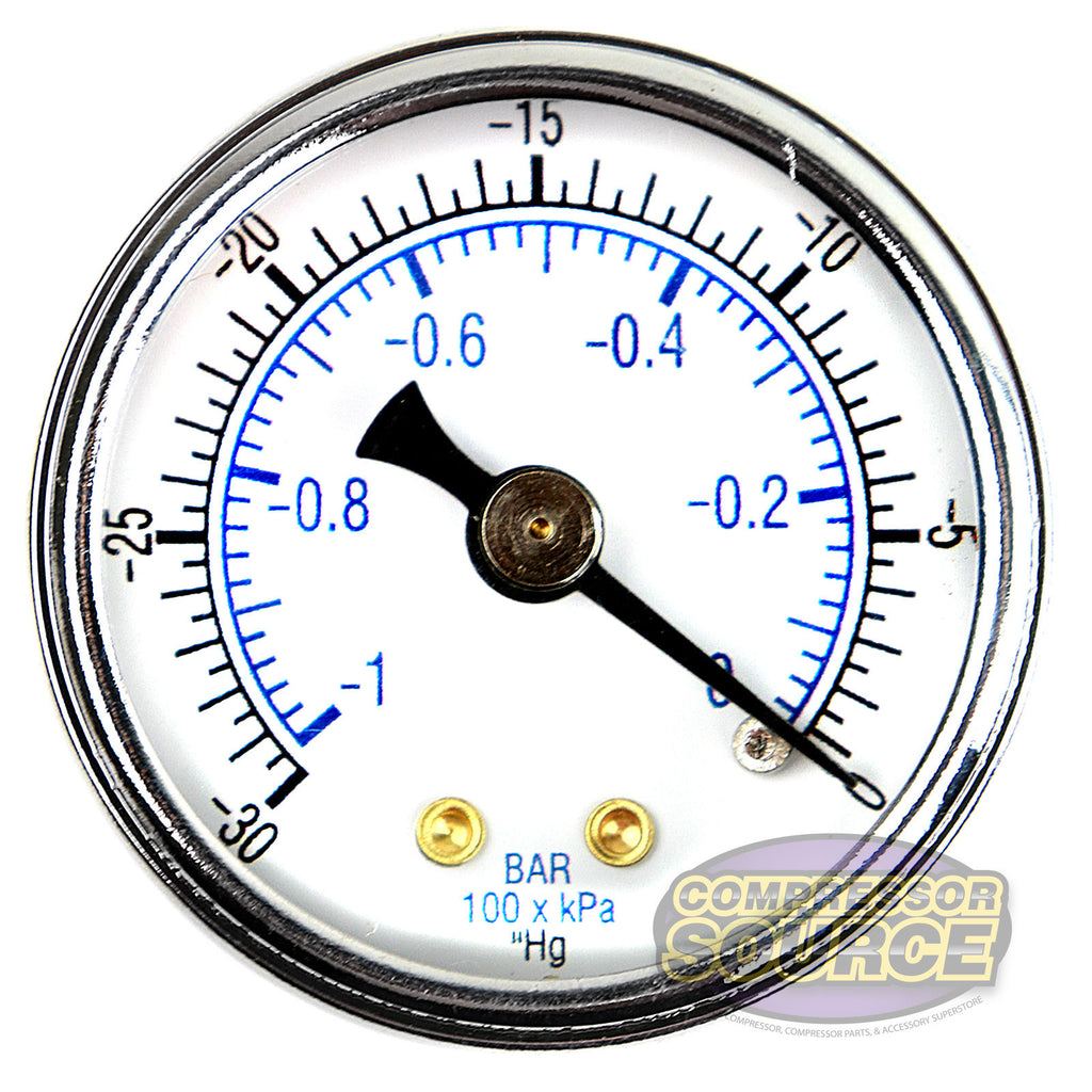 "1/8"" NPT 0 to -30 PSI Vacuum Air Pressure Gauge Center Back Mount With 1.5"" Face"