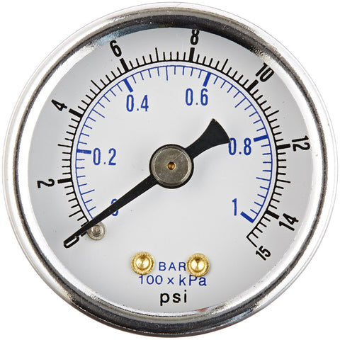 "1/8"" NPT 0-15 PSI Air Pressure Gauge Center Back Mount With 1.5"" Face"