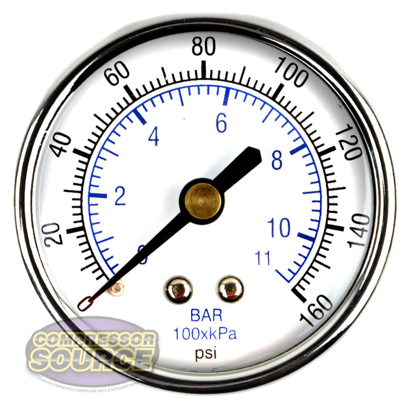 "1/4"" NPT 0-160 PSI Air Pressure Gauge Center Back Mount  With 2"" Face"