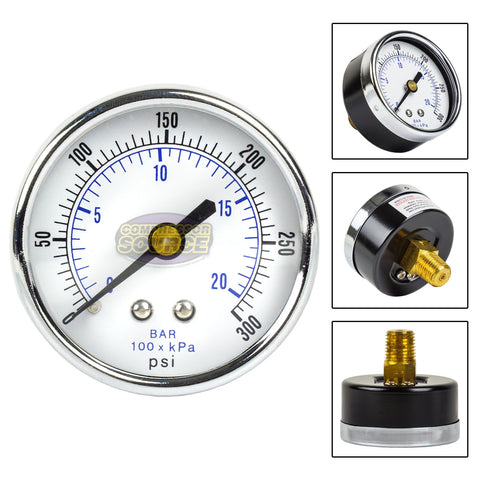 "Quality 1/4"" NPT Air Pressure Gauge 0-300 PSI Back / Rear Center Mount 2"" Face"