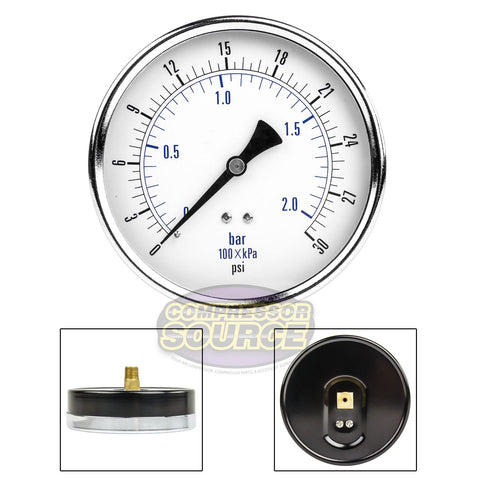 "Quality Compressed Air Pressure Gauge 30 PSI 1/4"" MNPT Center Back Mount 4.5"""