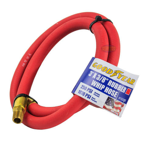 "Goodyear Rubber Hose Whip 3' x 3/8"" 250 PSI Air Compressor Lead USA Made 10318"