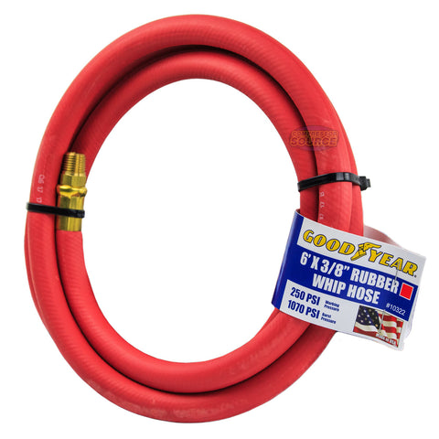 "Goodyear Rubber Hose Whip 6' ft. x 3/8"" in. 250 PSI Air Compressor Lead 10322"