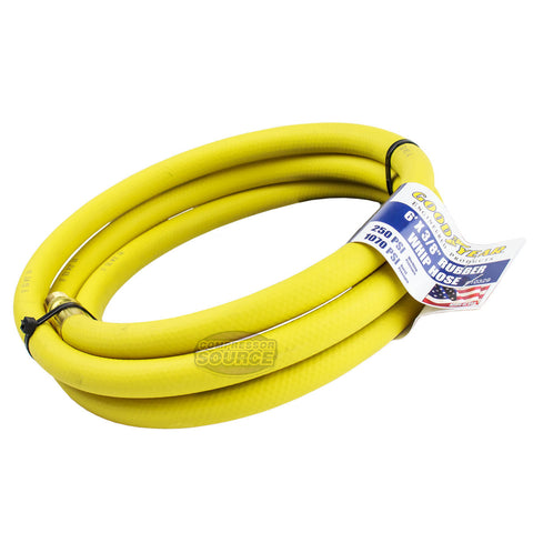 "Goodyear Rubber Hose Whip 6' ft. x 3/8"" in. 250 PSI Air Compressor Lead 10329"