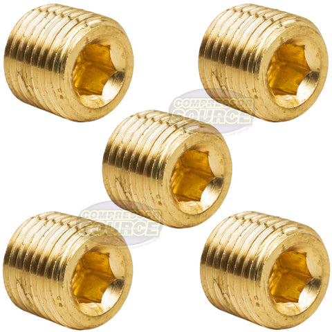"5 Pack Brass 1/4"" Hex Pipe Plugs Countersunk Style Male NPT Pipe End Fitting Cap"