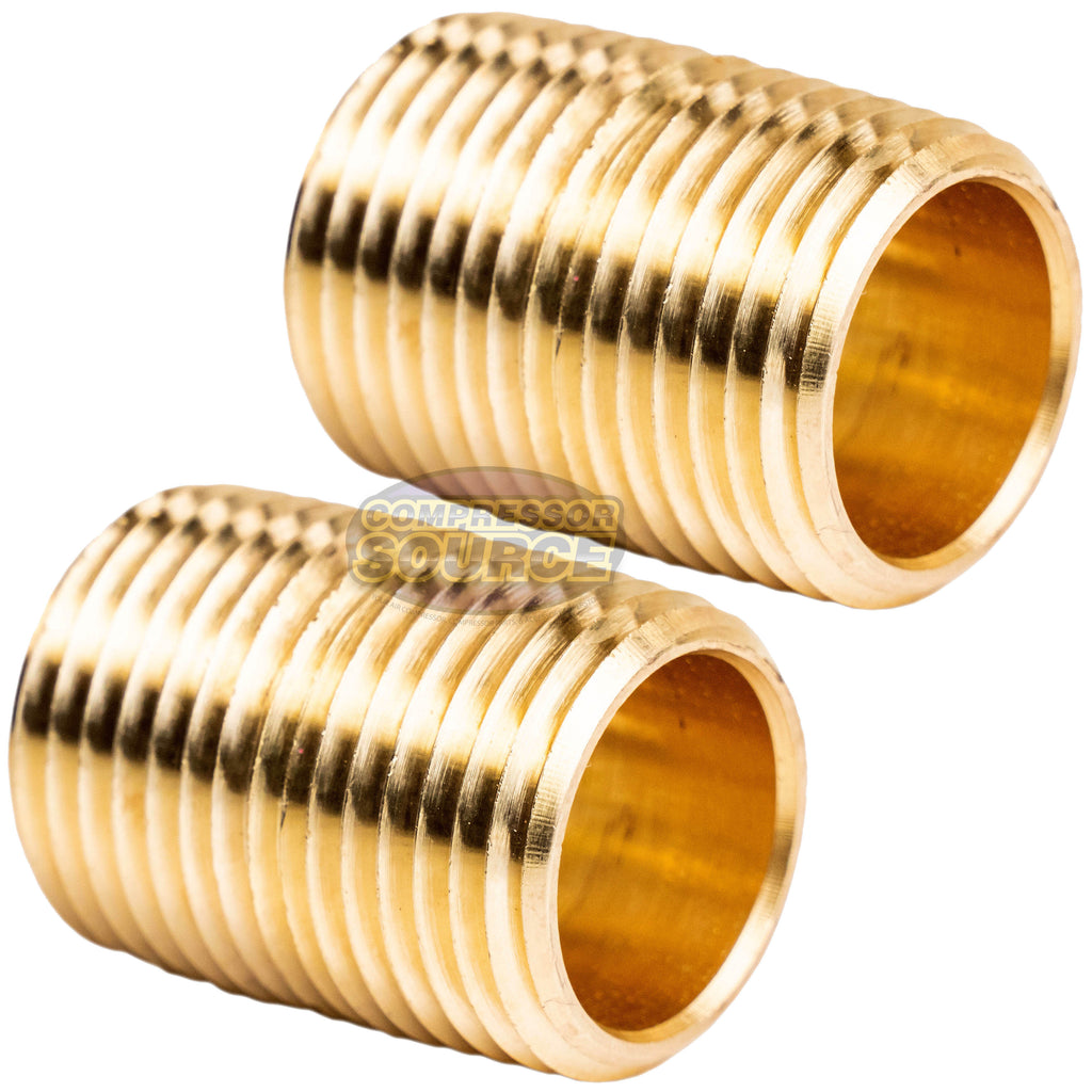 "2 Pack 1/2"" NPT X Male Close Pipe Nipples Threaded Brass Fitting Pipe Connector"