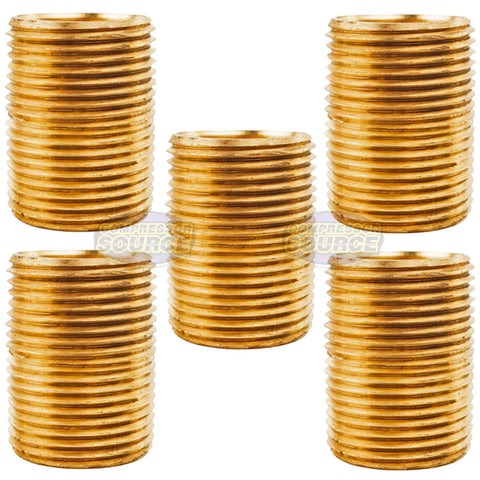 "5 Pack 3/4"" NPT X Male Close Pipe Nipple Threaded Brass Fitting Pipe Connector"
