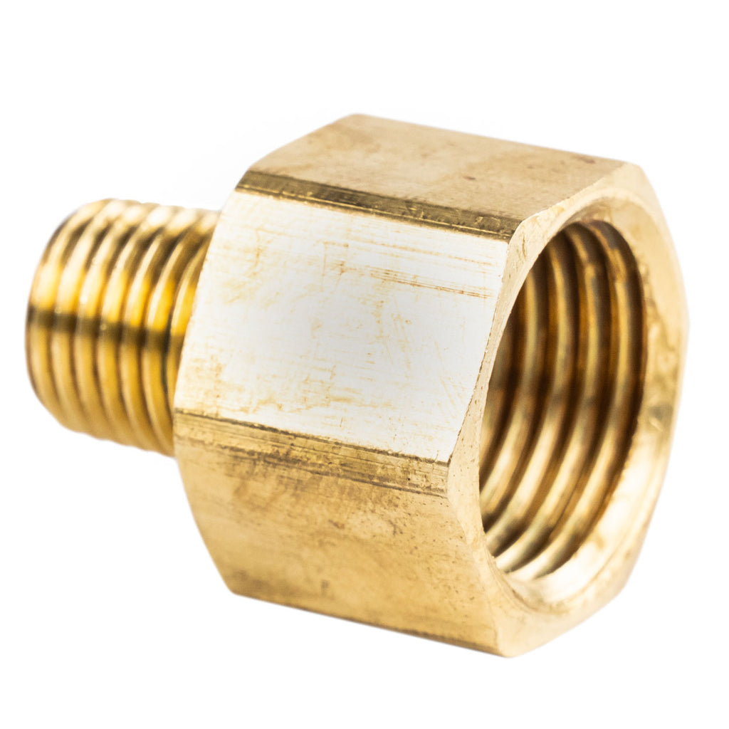 "1/2"" FNPT to 1/4"" MNPT Pipe Adapter Solid Brass Pressure Gauge Connector Extender 120RFC"
