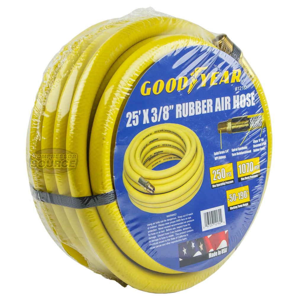 "Goodyear Rubber Air Hose 25' ft. x 3/8"" in. 250 PSI Air Compressor Hose 12182"