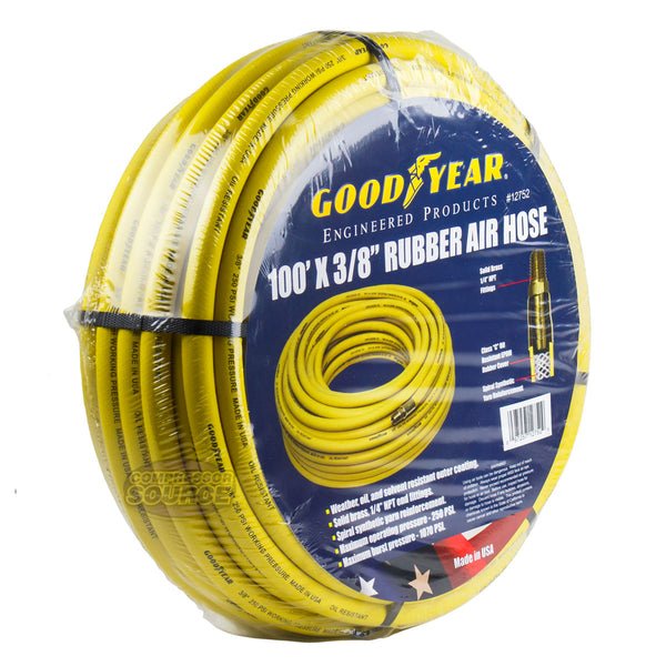 "Goodyear Rubber Air Hose 100' ft. x 3/8"" in. 250 PSI Air Compressor Hose 12752"