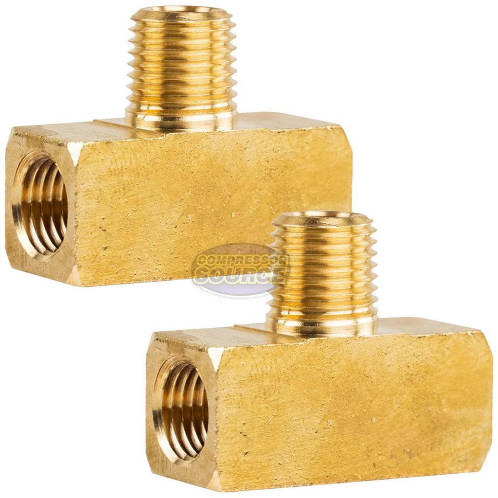 "2 Pack Brass Pipe Branch Tee 1/4"" Female x 1/4"" Male NPT Air Tank Valve Union"
