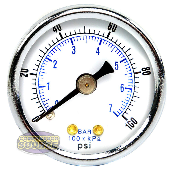 "1/8"" NPT Air Pressure Gauge 0-100 PSI Back Mount 1.5"" Face Black Steel Case"