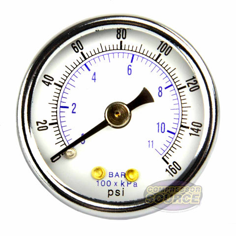 "1/8"" NPT 0-160 PSI Air Pressure Gauge Center Back Mount with 1.5"" Face"