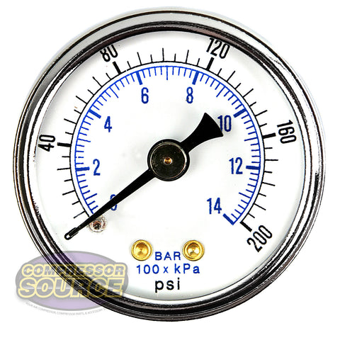 "1/8"" NPT 0-200 PSI Air Pressure Gauge Center Back Mount With 1.5"" Face"