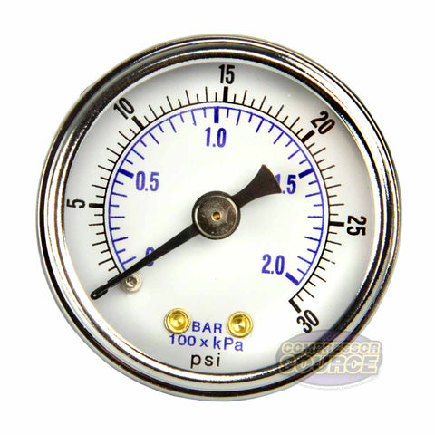"1/8"" NPT 0-30 PSI Air Compressor / Hydraulic Pressure Gauge Center Back Mount With 1.5"" Face"
